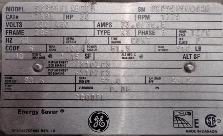 GE Model 5KS286LAB205 30 HP AC motor tag