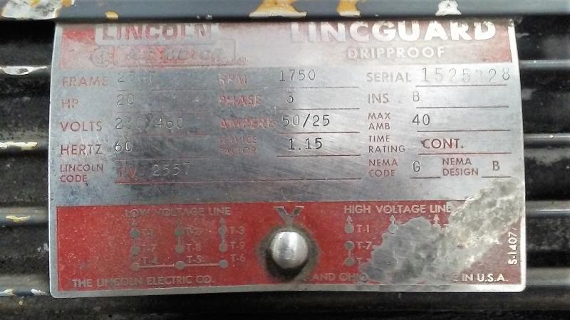 Lincoln 20hp Lincguard Ac Motor