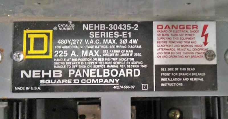 Data Tagging: Square D Company Cat. No. NEHB-30435-2 Panelboard Breaker