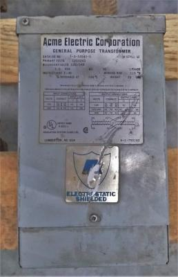 Acme Electric Corporation 1.0 KVA Transformer