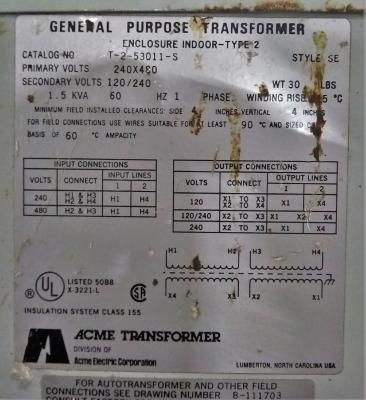 Acme Electric Corporation 1.5 KVA Transformer