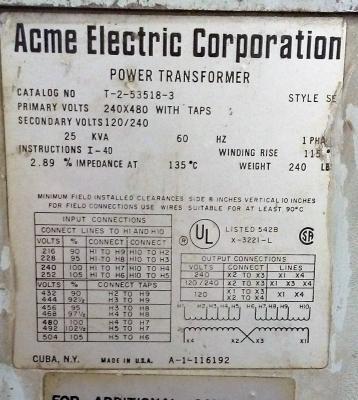 Acme Electric Corporation 25 KVA Power Transformer