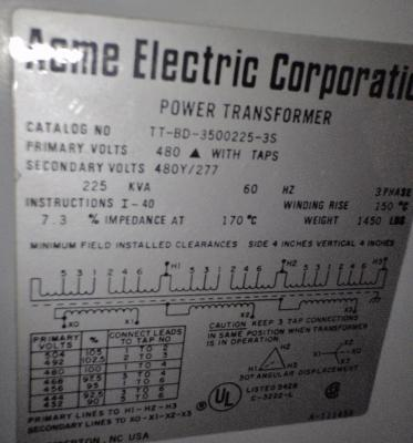 Acme Electric Corporation Power Transformer