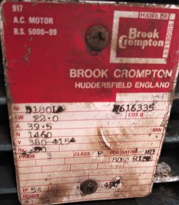Brook Crompton 380/415 Volt motor data plate