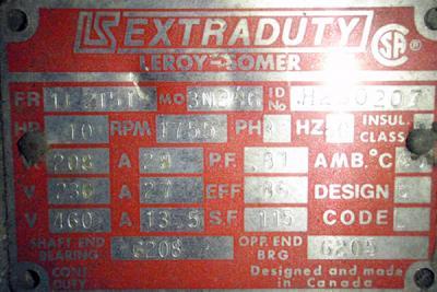 Cumberland 6x10 motor data