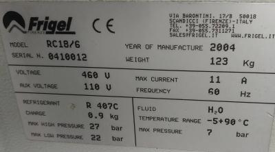 Frigel Microgel Portable Chiller Data Plate