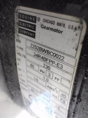 HFA Press A82 Flat Conveyor motor tag