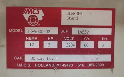 IMCS Batch Mixer, 30 Cu. Ft. data plate
