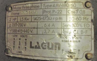Lagun FT.1 9 in. X 42 in. vertical milling machine motor plate