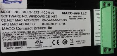 Maco Breeze Parison Controller Data tag