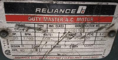 Reliance P25G15A 20hp Motor data plate